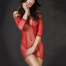Women's Sexy Lingerie Nightwear Underwear Babydoll Sleepwear Fishnet Slim Dress~