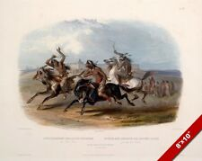 SOUIX NATIVE AMERICAN INDIANS RACING HORSES PAINTING ART REAL CANVAS PRINT