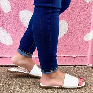 White Quilted Padded Insole Sandals