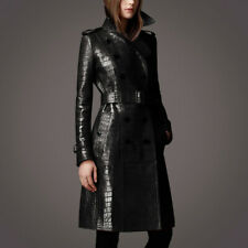 Occident Women Leather Windbreaker Belt Double-breasted Coat Trench Winter Party