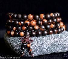 108 Natural Black Brown Rosewood Prayer 8mm Beads Buddha Meditate Necklace