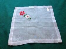 """Vintage Desco White Cotton Hankie Handkerchief Poisettias """"Nos"""" W/ Label #8"""