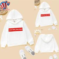 Kids Boys Girls Casual Hoodie Sweatshirt Casual Hooded Pullover Jumper Tops Coat