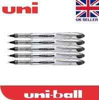 5 x Uni-ball Vision Elite UB-200 0.8mm Tip Rollerball Black Pen
