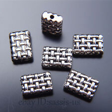 30pcs 12mm Charms rectangle Spacer Beads Tibet Silver DIY Jewelry Bracelet A7517