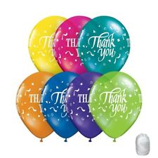 """(10) Quantity Thank you Multi Color Latex 11"""" Balloons with matching Ribbon"""