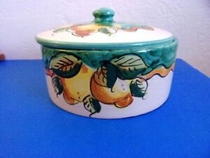 """Hand Painted Dipinto A Mano """" Lemons """" Dish With Lid, Italian Pottery"""