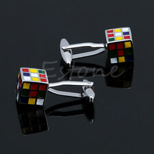 Vintage Stainless Steel Men's Cufflinks Rubik Cube Design Dress Shirt Cuff Links