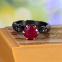 925 Sterling Silver Rose Cut Diamond Natural Ruby Gemstone Victorian Ring 00272