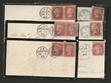 GB Six(6) QV 1d Penny Red Mourning Covers.