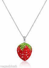 """925 Sterling Silver Crystal Red Strawberry Pendant Necklace 18"""""""