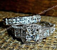 14k White Gold .925 Sterling Silver Princess Diamond Engagement Ring Wedding Set