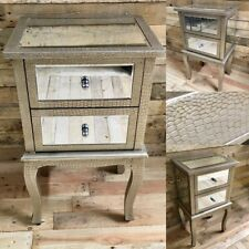 Moc Croc Embossed Mirrored 2 Drawer Bedside Cabinet Table Chest Of Drawers
