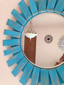 True Turquoise Handmade Sunburst  Wall Mirror Custom Made Mid- Century Modern22""