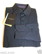 Ted Baker Men's Shirt, Sz 15, Green Stripes
