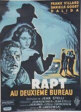 """""""RAPT AU DEUXIEME BUREAU"""" Affiche originale entoilée Litho NOËL 1958 / DALIDA"""