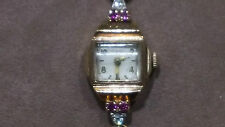 FAIRFAX 14karat solid rose gold watch with diamond and ruby, VINTAGE LQQK