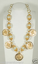 Kenneth Jay Lane satin gold carved coin w/ white pearl necklace