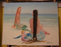 MERMAID FOLK ART RED HAIR FRIENDSHIP BABY PRIMITIVE NAIVE LISTED ARTIST PAINTING