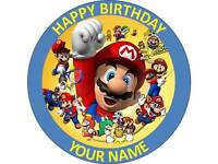 """7.5""""MARIO EDIBLE PERSONALISED CAKE TOPPER ON ICING OR WAFER PAPER"""