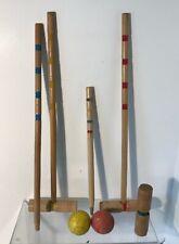 Lot of Vintage Wood Croquet Balls, Post & Malets Primitive Wooden