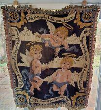 GOODWIN WEAVERS Cherubs Angels 4.5' x 4' Woven Throw Blanket Afghan Tapestry