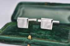 Vintage Sterling Silver cufflinks with an Art Deco Mother of pearl design #G319