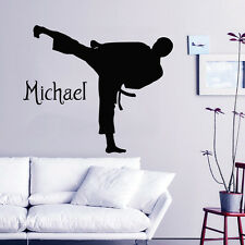 Karate Wall Decal Boys Personalized Name Vinyl Stickers Martial Arts Decor KY91