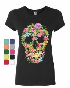 Flower Skull Women's T-Shirt Sugar Skull Calavera Dia de los Muertos Shirt