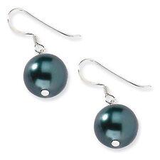 Fashion 10mm Black South Sea Shell Pearl Silver Hook Dangle Earrings