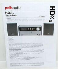 English + Spanish Instruction Manual for the POLK AUDIO HDX3 AM FM Radio CD