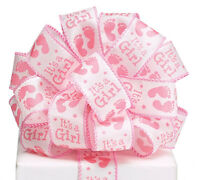 New Wired It's a Girl Ribbon, Baby Girl Feet 20 Yards, Baby Girl Ribbon 1-1/2""