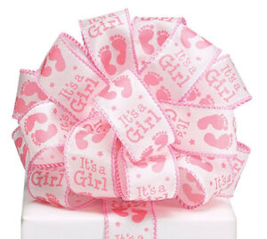 """New Wired It's a Girl Ribbon, Baby Girl Feet 20 Yards, Baby Girl Ribbon 1-1/2"""""""