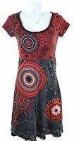 DESIGUAL Womens A-Line Dress Size 16 Large Black Floral Cotton  LY19