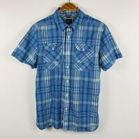 G Star Raw Mens Button Up Shirt Size L Large Slim Fit Blue Plaid Short Sleeve