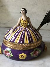Vintage Art Deco French Porcelain Handpainted Quill Inkwell Ormolu Mount Woman