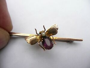 SUPER ANTIQUE NOVELTY 9CT GOLD AMETHYST & PEARL BUG FLY INSECT BROOCH  2.4 GRAMS