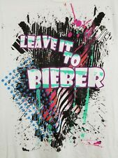 HOT TOPIC Justin Bieber LEAVE IT TO BIEBER paint splatter T-Shirt size Large EUC