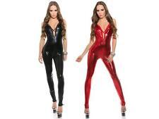 sexy damen wetlook overall leder body clubwear catsuit jumpsuit bodysuit schwarz