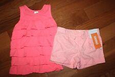 NWT Gymboree Island Cruise Girl 2T Set Pink Ruffle Tank Shirt Striped Shorts