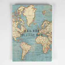 VINTAGE World Map ATLAS Big Book per poco idee QUADERNO A5 regalo viaggio