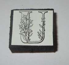 "U Rubber Stamp Foam Mounted Letter Initial Flowers NOS 1"" High New"