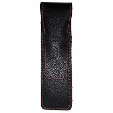 DiLoro Full Grain Top Quality Leather Single Pen Case Holder Pouch Black and Red