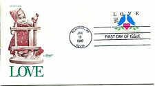 1990 COMMEMORATIVE 1990 LOVE STAMP KISSING BIRDS ARTMASTER CACHET+STY UNADD FDC