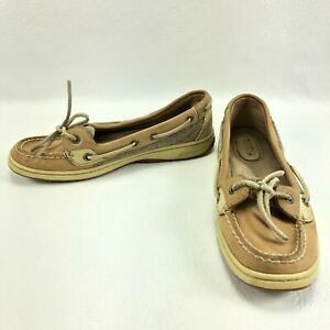 Sperry Women's Top Sider Tan Leather Angelfish Tweed Fabric Boat Shoe 6M