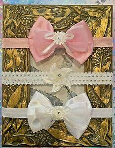 PACK OF 2- GIRLS HEADBAND-DIAMANTE-LACE-WHITE PINK-CHRISTENING-FLOWER GIRL
