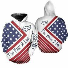 New listing Fox Racing Hoodie - Fox Racing America Flag Pullover premium 3D hoodie