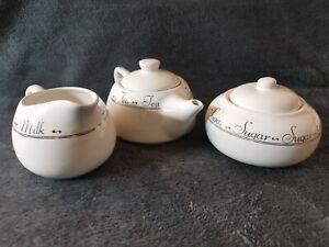 3 Piece Tea Milk And Sugar Set White With Black Writing Ceramic Tea Service