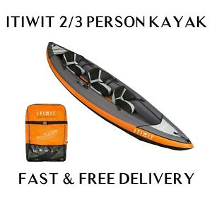 ITIWIT Inflatable Orange Kayak Canoe Boat 2-3 Person + Carry Bag - FAST DELIVERY