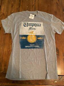 NWT Umpqua Feather Merchants Cerveza Fish SS T-Shirt, Size M Grey Color